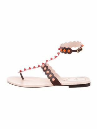 Fendi Leather Studded Accents Sandals Brown