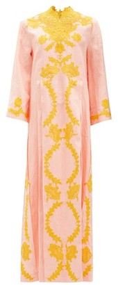 Gucci Floral Lace-applique Linen Kaftan - Light Pink