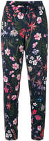 Cambio floral print trousers with stripe panels