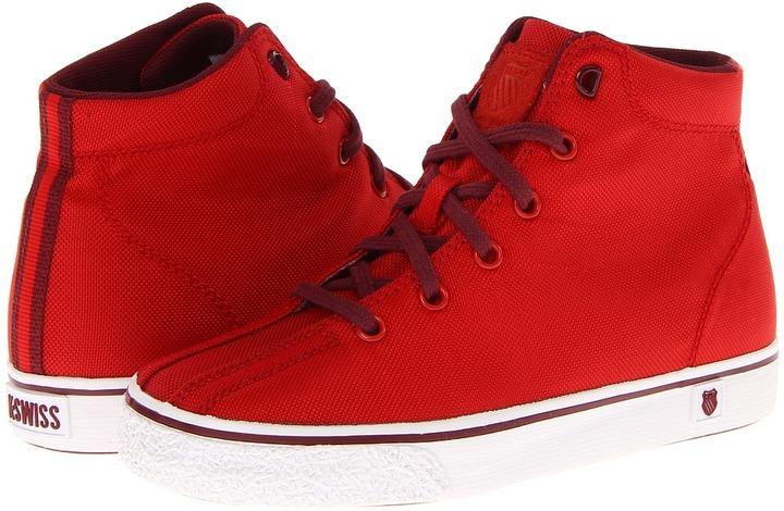 K-Swiss Clean Laguna High T VNZ (Little Kid) (Fiery Red/Tawny Port Textile) - Footwear
