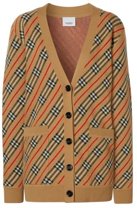 Burberry Coralie Icon Stripe Merino Wool-Blend Cardigan