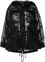 Sacai net hooded coat