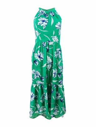 Jessica Howard JessicaHoward Women's Sleeveless Shirred Halter Neck Dress with Flounce Hem