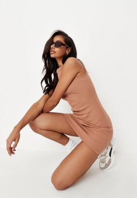 Missguided Tan Rib Wide Neck Sleeveless Mini Dress