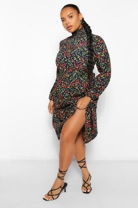 boohoo Plus Floral Print Smock Midi Dress