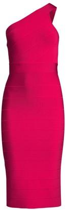Herve Leger One-Shoulder Bandage Midi Dress