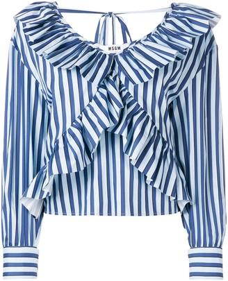 MSGM ruffled V-neck shirt
