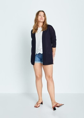 MANGO Violeta BY Fine-knit cardigan dark navy - S - Plus sizes