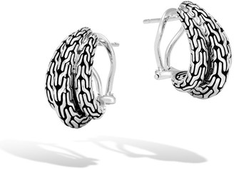 John Hardy Classic Chain Silver Buddha Belly Earrings