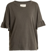 The Great The Ruffle Sleeve distressed cotton T-shirt