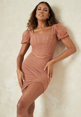 Missguided Taupe Tulle Corset Drape Puff Sleeve Mini Dress