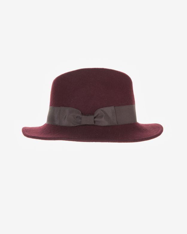 Hat Attack Classic Black Trim Fedora: Burgundy