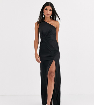 Jarlo Tall one shoulder satin maxi dress with split in black