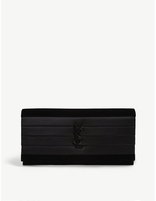Saint Laurent Smoking pleated satin and velvet clutch