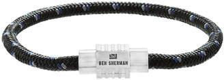 Ben Sherman Men's Braided Leather Cord Bracelet, Blue/Black/White
