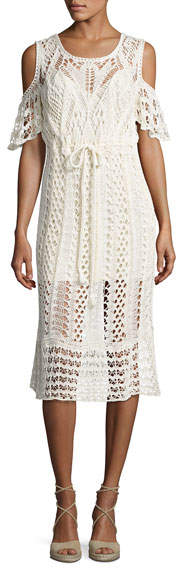 See by Chloe Cold-Shoulder Macrame Midi Dress, White