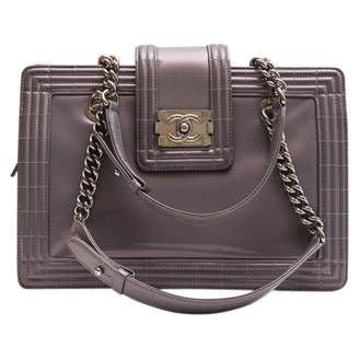 Chanel Boy Tote Grey Patent leather Handbags