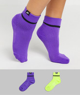 Nike 2 pack colorblock socks in purple and neon green