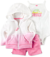 Carter's 3-Pc. Cotton Aloha Bodysuit, Hoodie & Shorts Set, Baby Girls (0-24 Months)