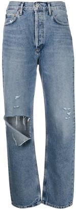 AGOLDE Ripped Organic Cotton Boyfriend Jeans