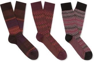 Missoni Three-Pack Crochet-Knit Cotton-Blend Socks