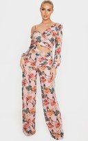 Charms Pink Rose Print Chiffon Cut Out Jumpsuit
