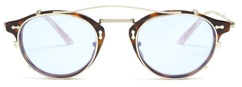 Gucci Detachable Lens Round Frame Acetate Sunglasses - Mens - Brown