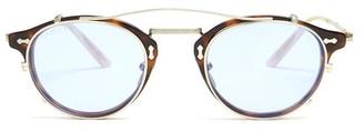 Gucci Detachable-lens Round Acetate Sunglasses - Mens - Brown