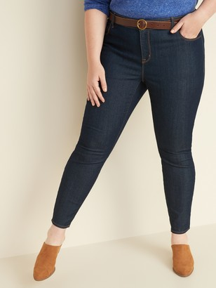 Old Navy Mid-Rise Dark-Wash Plus-Size Super Skinny Ankle Jeans
