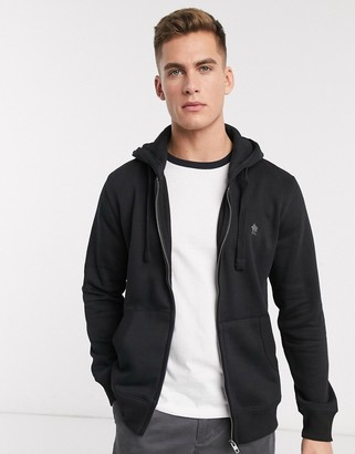 French Connection Essentials zip through hoodie with logo