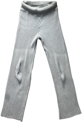 Baja East Grey Cotton Trousers for Women