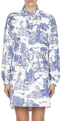 Moschino Toile Pintuck Pleated Shirtdress