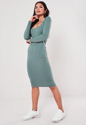 Missguided Teal Jersey Picot Trim Midi Dress