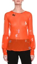 Giorgio Armani Sheer Floral-Print Silk Top, Orange