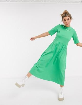 Monki Agnete jersey trapeze midi dress in green