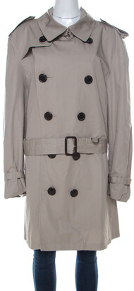 Burberry Beige Cotton Twill Double Breasted Belted Trench Coat XXL