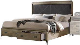 ACME Furniture ACME Athouman Faux Leather California King Storage Panel Bed in Oak