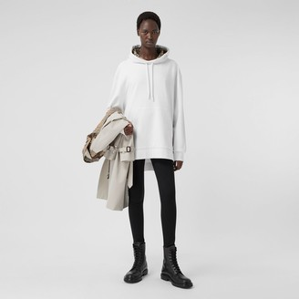 Burberry Stepped Hem Cotton Oversized Hoodie