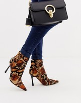 Asos Design DESIGN Evon leather heeled boots in leopard print