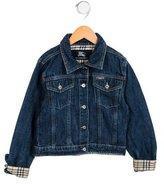 Burberry Girls' Nova Check-Trimmed Denim Jacket