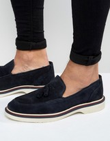 Asos Loafers In Navy Suede With Wedge Sole