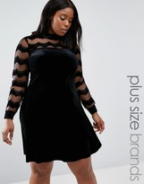 Junarose Plus Swing Dress With Embellished Sleeves