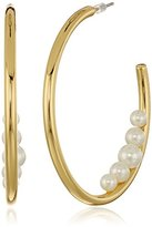 Trina Turk White Sands Goldtone and Pearl Pierced Hoop Earrings