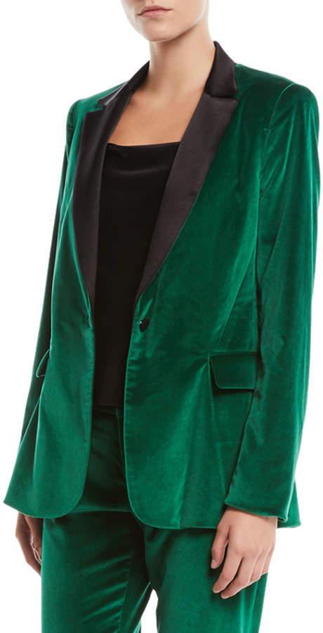 Alice + Olivia Macey One-Button Fitted Velvet Tuxedo Blazer