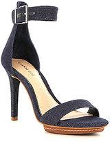 Gianni Bini Two Piece Denim Ankle Strap Stiletto Dress Sandals
