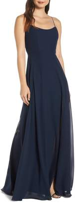 Jenny Yoo Collection Kiara Bow Back Chiffon Evening Dress