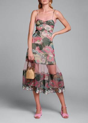 Fendi Printed Floral Spaghetti-Strap Dress