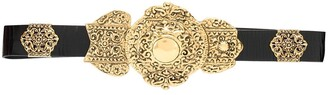 Saint Laurent Crackled-Leather Byzantine Belt