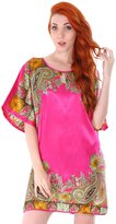 Simplicity Silky Kimono Nightgown w/ Side Slits, Keyhole Neck, Rose XL