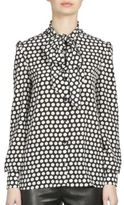 Saint Laurent Crepe De Chine Polka Dot Blouse